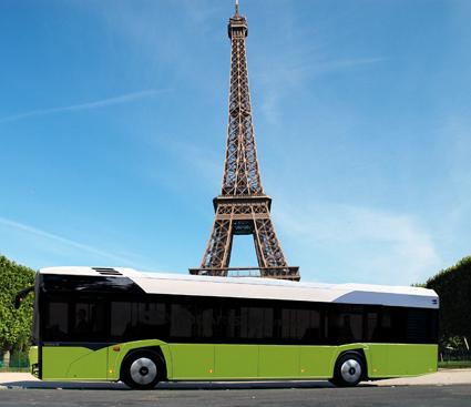 Paris testar Solaris batteribuss inför sin satsning på att alla 4500 bussar i den franska huvudstaden ska vara emissionsfria år 2025. Foto: Solaris.