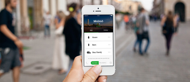 Skånetrafikens nya app Stadsbiljetten gör det möjligt att snabbt köpa biljett till kollektivtrafiken i de skånska städerna. Foto: Skånetrafiken.