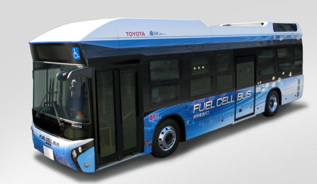Toyotas bränslecellsbuss har nu senast testats i tät trafik i Tokyo. Bild: Toyota.
