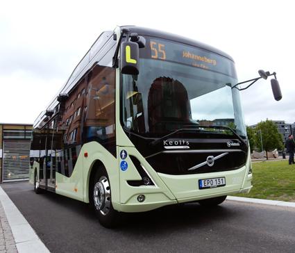 Under årets andra kvartal sattes Volvos helelktriska buss i reguljär linjetrafik. Foto: Ulo MAasing.