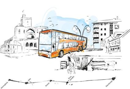 SkåneExpressen 10 börjar snart trafikeras med dubbeldäckare. Illustration: Skånetrafiken.