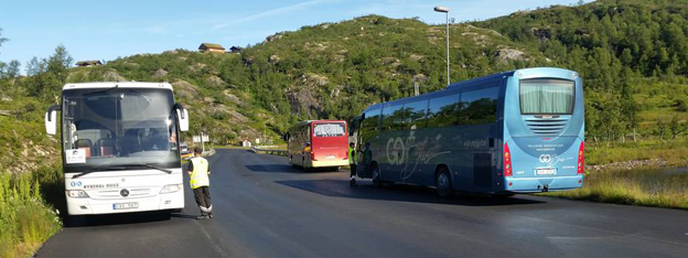 Norge skärper kontrollen av bussar. Foto: Statens Vegvesen.