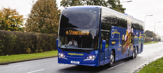 En av megabus.com:s expressbussar i Storbritannien. Foto: Stagecoach.