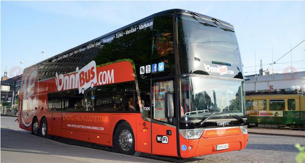 Den snabbväxande finska uppstickaren i expressbusstrafiken har nyligen investerat i 13 nya dubbeldäckare från Van Hool. Färg och design är samma som PolskiBus använder –båda har Stagecoachgrundaren Brian Souter som huvudägare.