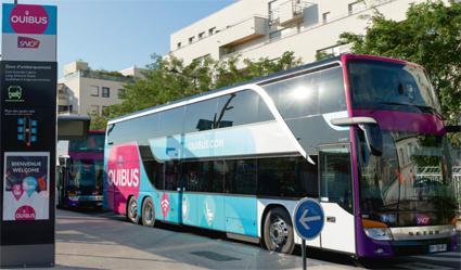 De franska statsbanorna satsar hårt på expressbussar genom sitt dotterbolag Ouibus. Linjenätet ska till början av nästa år byggas ut med 85 nya linjer till totalt 130. Foto: Ouibus.