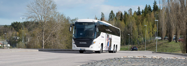 På Busworld i Kortrijk visar inte Scania några nya modeller, däremot bland annat Touring med 450 hästkrafters motor. Foto: Scania.