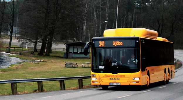 Bussresandet på en rad linjer i sydöstra Skåne har ökat kraftigt sedan Skånetrafiken utvecklat Sjöbo som knutpunkt och satsat på bättre trafik. Foto: Skånetrafiken.