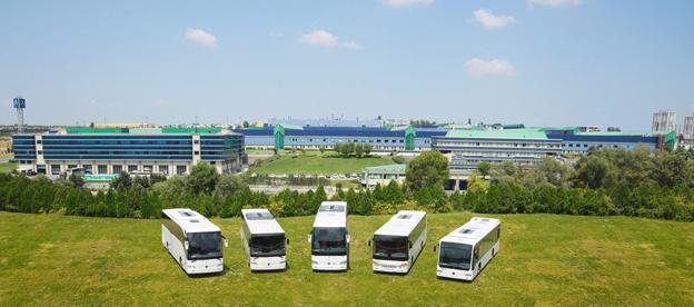 Mercedes-Benz bussfabrik i Hoşdere-Istanbul med dagens produktpalett: Mercedes-Benz Tourismo, Intouro, Travego, Setra UL business and Mercedes-Benz Connecto. Foto: Daimler Buses.