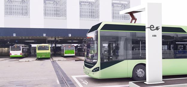 I samband med Busworld lanserar ABB sin nya laddstation för snabbladdning av elbussar. Bild: ABB.