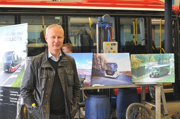 Krister Thulin, sedan i somras busschef vid Scania-Bilar Sverige, fanns på plats vid invigningen av Scanias nya bussverkstad.