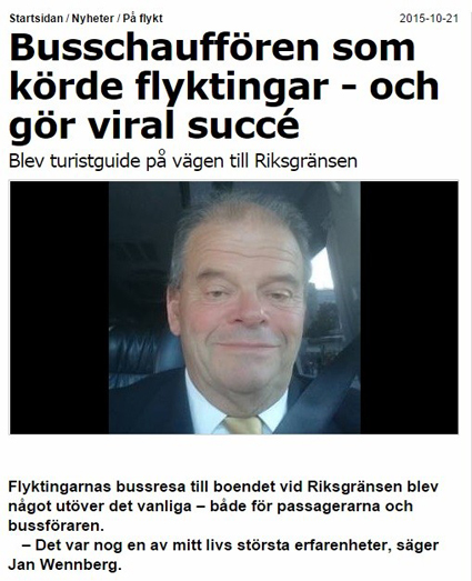 Flyktingkrisen betyder också många uppdrag för flera bussföretag. Ekmanbuss´ förare gör just nu viral succé med sin berättelse om en resa med flyktingar till Norrland. Bland andra Aftonbladet har uppmärksammat hans insats.