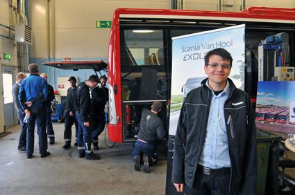 Ansvarig för bussverksamheten på anläggningen i Jordbro är Mathias Westergren.