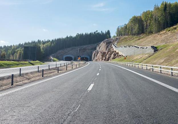 Ulricehamnstunneln på den nya motorvägen mellan Göteborg och Ulricehamn. Foto: Trafikverket.