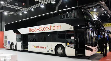 Spanska Unvi presenterade bland annat sin dubbeldäckare SIL, byggd på MAN-chassi,  som ska gå i trafik mellan Trosa och Stockholm. Foto: Ulo Maasing.