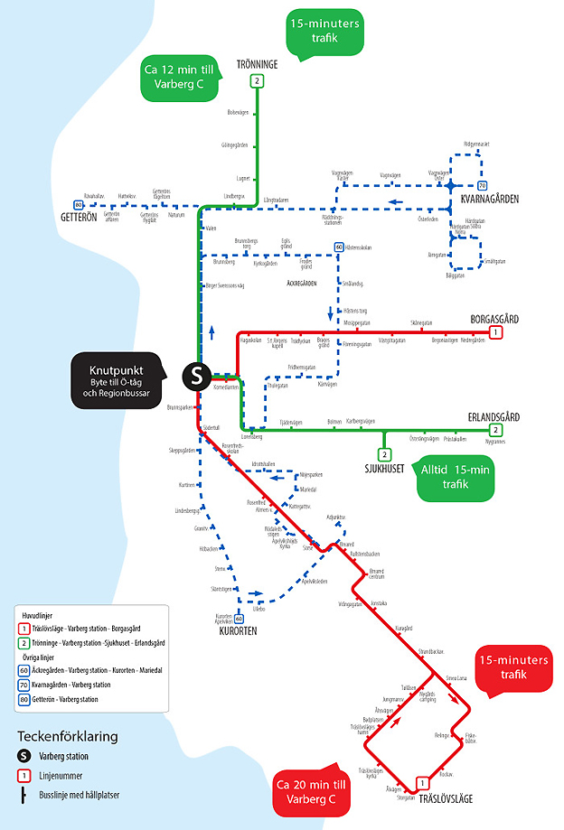 Varbergs nya busslinjenät som börjar gälla den 13 december. Karta: Hallandstrafiken.