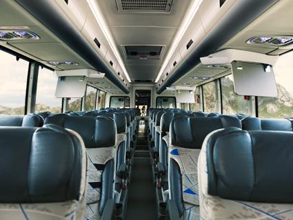 Interiör på Volvo 9800 i utförande för långlinjetrafik i Mexiko. Bild: Volvo Bussar.