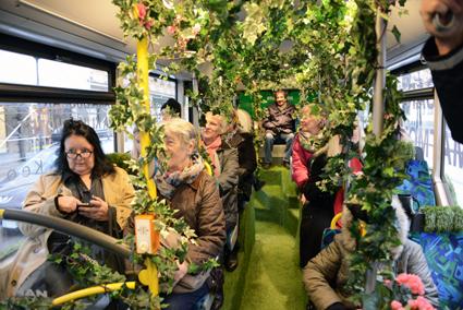 Murgröna, blommor och gräsmatta inne i bussen gladde resenärerna på linje 1. Foto: Ulo Maasing.