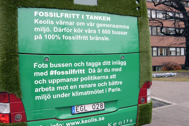 Med den gröna bussen vill Keolis också skapa opinion för en fossilfri trafik. Foto: Ulo Maasing.