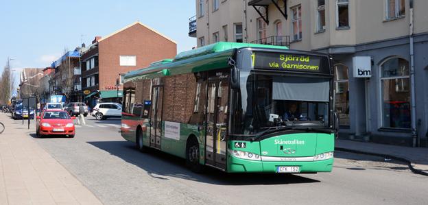 Resandet med stadsbussarna i Hässleholm har ökat kraftigt i år. Foto: Ulo Maasing.