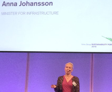 Infrastrukturminister Anna Johansson(S) talade på onsdagen på Volvo Group Sustainability Forum.
