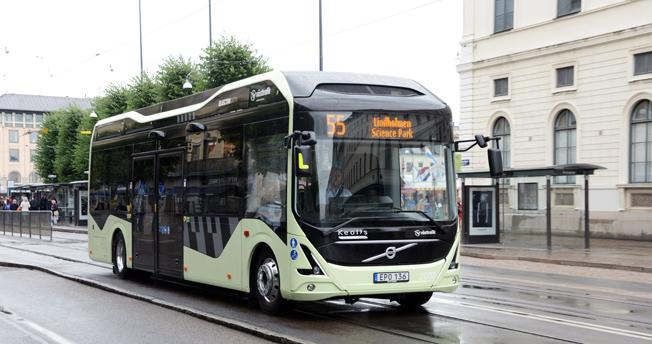 Prisad linje: elbusslinje 55 i Göteborg har fått ett europeist miljöpris. Foto: Ulo Maasing.