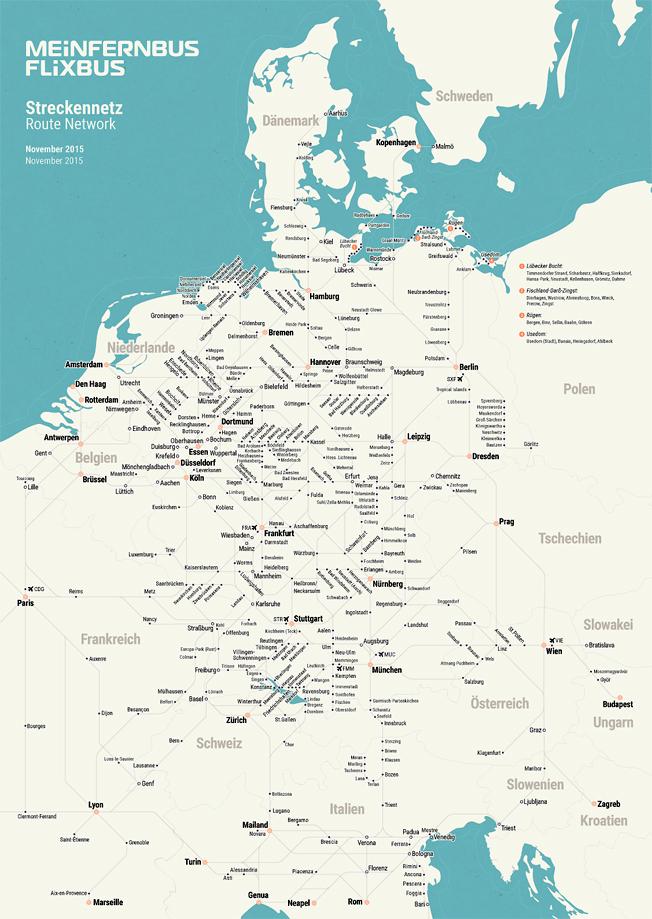 Flixbus linjenät så som det ser ut i november 2015. Karta: Flixbus.