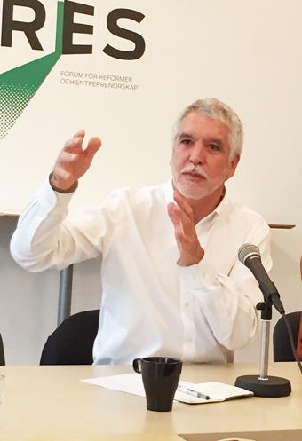 Förutom på Persontrafik medverkade Peñalosa bland annat på ett seminarium som arrangerades av tankesmedjan Fores i Stockholm. Foto: Ulo MAasing.
