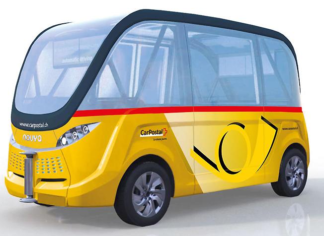 Självkörande småbussar ska testas som en del av kollektivtrafiken i den schweiziska staden Sion. Bild: PostBus.