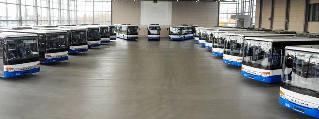 Setra har fått en order på 140 bussar från ett tjeckiskt bussföretag. De första femton har nu levererats. Foto: Daimler Buses.