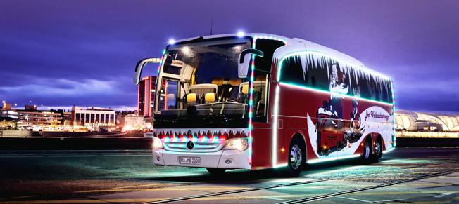 Mercedes-Benz spektakulära julbuss. Foto: Daimler Buses.