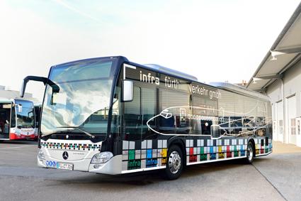 En av de Mercedes-Benz Citaro till tyska Fürth där ridån kan dras ner. Foto: Daimler Buses.