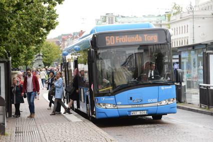 Solaris har haft stora framgångar i Sverige med sina gasbussar. Nästan var fjärde gasbuss kommer från företaget. Här är en av dessa i trafik för Transdev i Göteborg. Foto: Ulo Maasing.