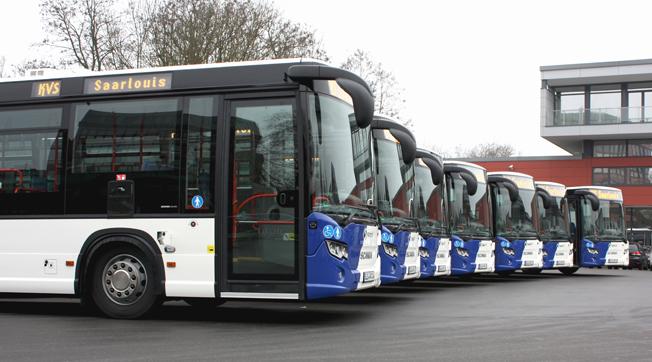 Den tyska staden Saarlois med cirka 35 000 invånare har tagit emot sju Scania Citywide lågentrébussar. Foto: Scania.