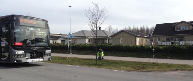 Bullermätning av en elbuss från Ebusco. Foto: Sven Borén/Blekinge Tekniska Högskola.