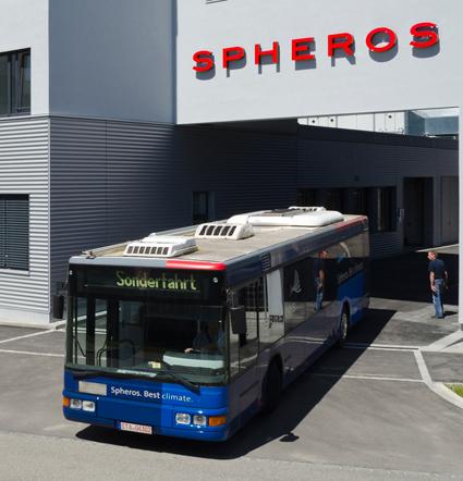 Spheros, en av världens största tillverkare av luftkonditionering för bussar, byter ägare. Foto: Spheros.
