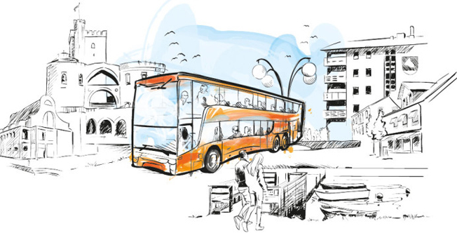 Den skånska satsningen på regionala superbussar blir föremål för flera forskningsprojekt. Illustration: Skånetrafiken.