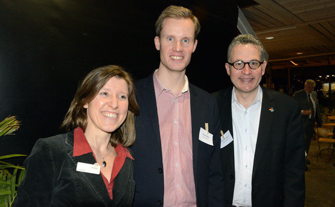 Iris Müller, Gustav Svärd och Uwe Meistner från Tyska turistbyrån i Stockholm arrangerade kick-offen tillsammans med Brandenburg. Foto: Ulo Maasing.
