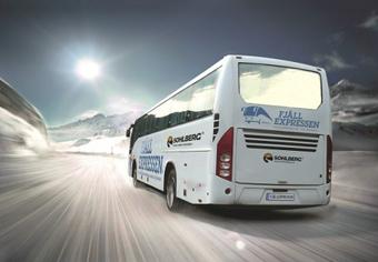 Fjällexpressen, som drivs av Sohlberg Buss, integreras i Swebus´linjenät. Bild: Sohlberg Buss.
