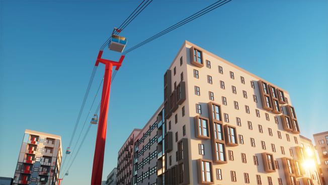 Så kan en tänkt linbana se ut vid Järntorget i Göteborg. Alliansen i Borås vill inte vara sämre utan ser linbana som ett alternativ till BRT. Bild: Göteborgs kommun.