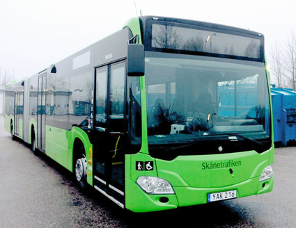 Nobina köper Mercedesbussar till Malmö, lackerade i den nya, limegröna färg som håller på att införas på stadsbussarna där. Foto: EvoBus.
