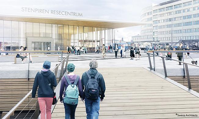 Stenpiren resecentrum i Göteborg. Bild: Sweco arkitekter.