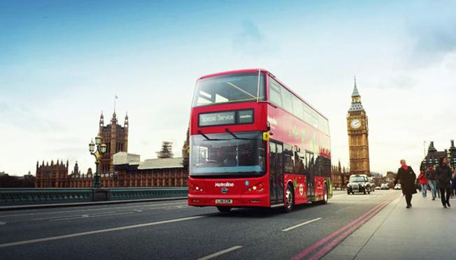 London har fått sin första helt batteridrivna dubbeldäckare. Bild: BYD.