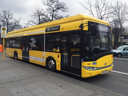 En Solaris Urbino 12 Electric med induktiv laddning på linje 204 i Berlin. Foto: Ulo Maasing.