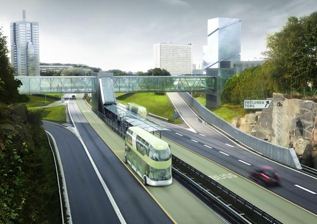 Snabbussar på egna körbanor ska trafikera Göteborgs infarter. Bild: Västra Götalandsregionen.