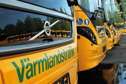 136 bussar i Värmland, samtliga med otill-åtna övervakningskameror. Bild: Värmlandstrafik.