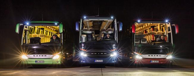 Daimler Buses lanserar integrerade LED-srålkastare som tillval på flera modeller från Setra och Mercedes-Benz. Foto: Daimler Buses.