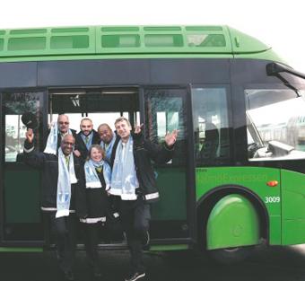 Skånetrafiken matchar MFF:s matcher med en särskild matchbuss. Foto: Skånetrafiken.