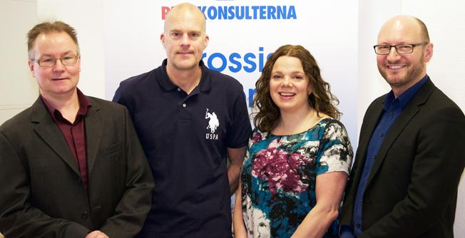 Fördubblad fältstyrka hos Rese-Konsulterna. Från vänster: Toffe Lindskog, Per Göransson, Anna Andersson, Ketil Olsen.