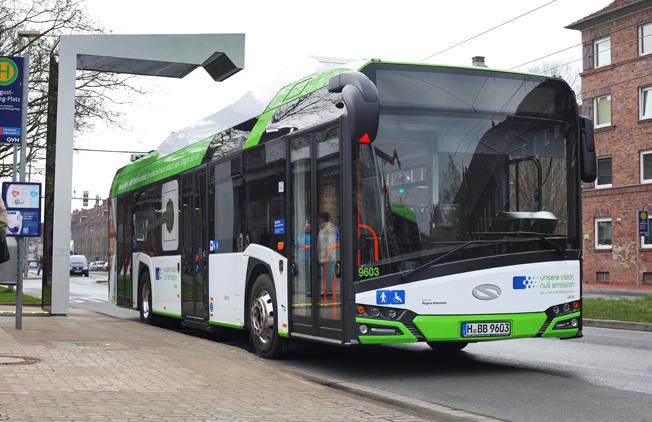Hannover har satt in tre snabbladdade Solaris Urbino electric 12 med navmotorer i trafik. Foto: Solaris.