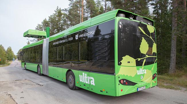 Elbusstillverkaren Hybricon har utvecklat en teknik för att minska påfrestningen på elnätet vid ultrasnabbladdning av elbussar. Bild: Hybricon.